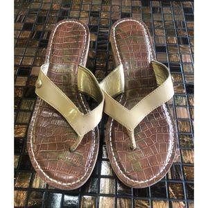 Sam Edelman Romy Beige Patent Thong Shoes 6.5